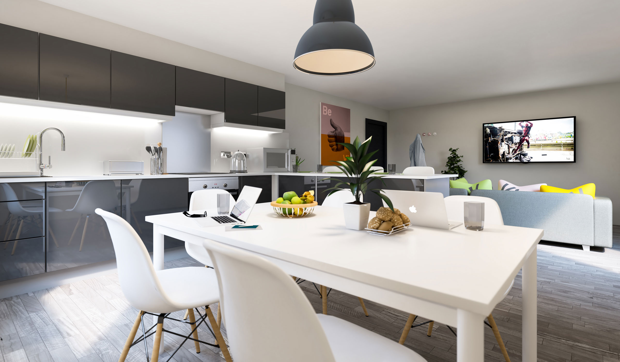 Vibe student accommodation en-suite shared kitchen and living room